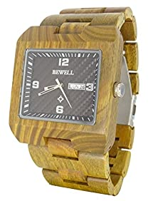 buy Handmade Square Wooden Watch Made With Natural Sandalwood In Green - Hgw-223
