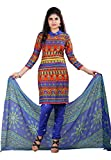 Bansy Fashion Casual Wear Blue Colored Crepe Dress Matirial