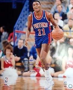 Isiah Thomas Signed Detroit Pistons 20x24 Photo HOF 2000, ZEKE, 12 Time All Star, Bad...