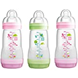 MAM Anti-Colic Bottles 260ml - Pack of 3 Choice of Pink, Green or Blue (Pink & Green)