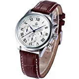 ORKINA Chronograph Genuine Coffee Leather Japan Movement Mens Quartz Watch ORK150
