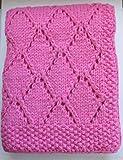 "Babykins Hand Knitted Diamond Baby Blanket 30x36"" (Rose)"