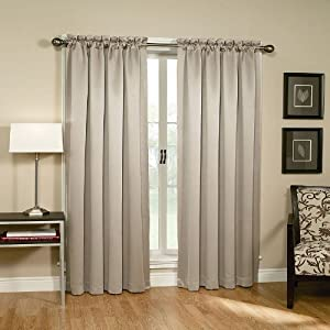 Home Classics Blackout Curtain Panel 84 in. Length, Stone