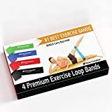 Best Exercise Resistance Loop Bands - Set of 4- Lifetime Guarantee- A Fitness Stretch and Elastic Lateral Band