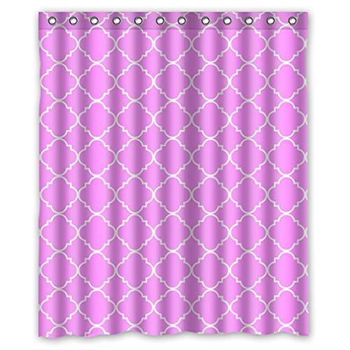 """Cool Quatrefoil Simple Pink And White Classic Reticular Waterproof Shower Curtain 60"""" X 72"""" front-921482"""