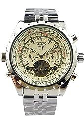 Jaragar Men's 6 Hands Chronograph Stainless Steel Automatic Mechanical Watch