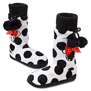 Disney Store Minnie Mouse Polka Dot Plush Slippers House Shoes Slipper Booties For Girls: Size 13/1