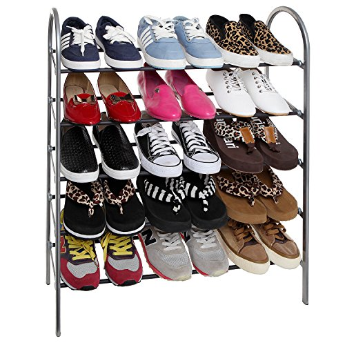 Foyer Closet For Garments : Tier freestanding vertical metal shoe rack for entryway