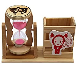 Gifts Online Pen Stand Hour Glass with 1 Minute Sand Timer Desk Décor