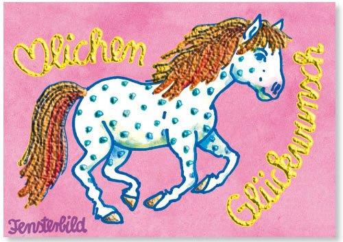Fensterbild * Herzlichen Glückwunsch - Glitzerpferd * als Einladungskarte von LUTZ MAUDER // Fensterbilder Aufkleber Sticker Geschenk Bild Karte Mädchen Pferd Kindergeburtstag Geburtstag Postkarte Einladungskarten Einladung Pink Rosa