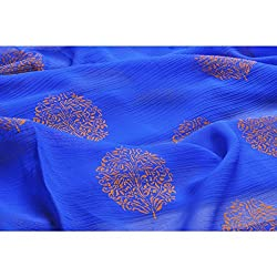 Aagaman Fashions Chiffon Fabrics (TSFP07_Blue)
