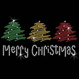 Christmas Tree Crystal Iron On T Shirt Design Transfer