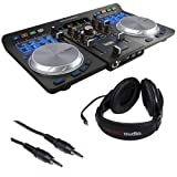 Hercules Universal DJ Bluetooth DJ Software Controller with R100 Stereo Headphones & Mini Male to Stereo Mini Male Cable (Black) 3' (Color: black)