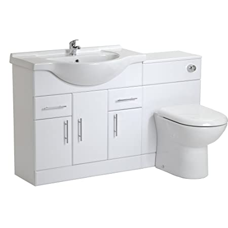 Trueshopping Bathroom 850mm White Gloss Vanity Storage Unit Basin Sink & 500mm BTW Furniture Pack With Choice Of Toilet Pan Opt 8