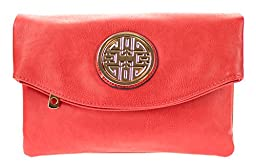 Canal Collection Multi Purpose Soft Foldable PVC Cross Body Clutch with Emblem (Coral)