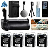 Multi Power Battery Grip + (4 Pack) Ultra High Capacity LP-E12 LPE12 Replacement Battery (2400mAh) + Replacement AC DC Rapid Battery Charger with Car & European Adapter + Wireless Shutter Release Remote Control + $50 Gift Card for Prints + Lens Cleaning Kit for Canon EOS Rebel SL1 100D DSLR SLR Digital Camera