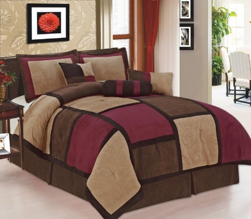 Micro Suede Patchwork Burgundy Queen Size 7 Piece Comforter Set Bed In Bag front-792941