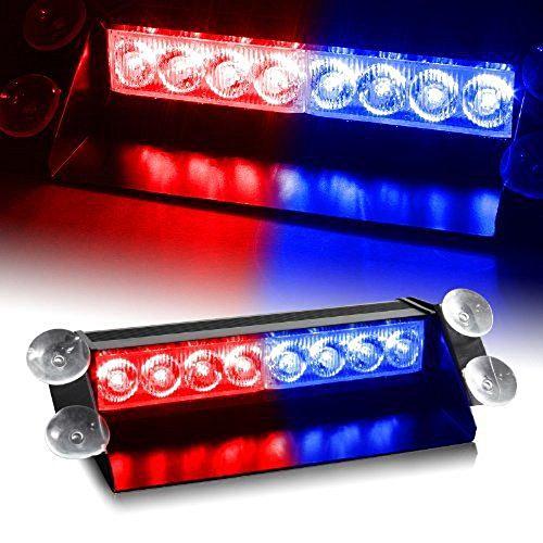 Exlight Brand New 8 Led Visor Dashboard Emergency Strobe Lights Blue/Red