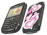 ITALKonline FunkGem BLACK PINK HEARTS Diamonte Crystals Super Hydro Gel Protective Armour/Case/Skin/Cover/Shell for BlackBerry 8520 Curve, 9300 3G