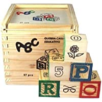 Rvold Alphabet & Number Non-Toxic Wooden Abcd And 1234 Building Blocks (27 Wood Blocks, Block Size 2Cm Cube -...