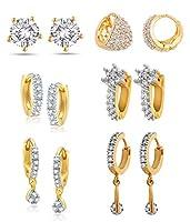 YouBella Combo of Trendy American Diamond Earrings
