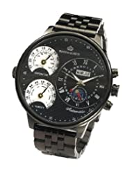 Kings and Queens KQ4008 Mens Automatic Mechanical Watch Large Face 55mm All Black Stainless Steel Bracelet German Design Limited Edition