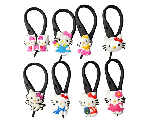 8 pcs Hello Kitty # 2 Soft Zipper Pull Charms for Backpack Bag Pendant Jacket