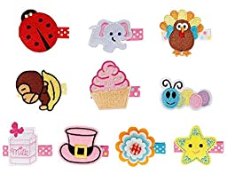 Bundle Monster 10 pc Baby Girls Multicolor Embroidered Design Soft Fabric Hair Clip Accessories - Set 2: Adorable Angel