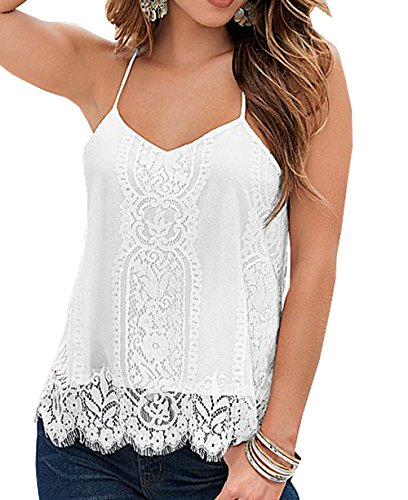 Womens Spaghetti Strap Lace Crochet Racerback White Tank Top (M) (White Lace Tank compare prices)