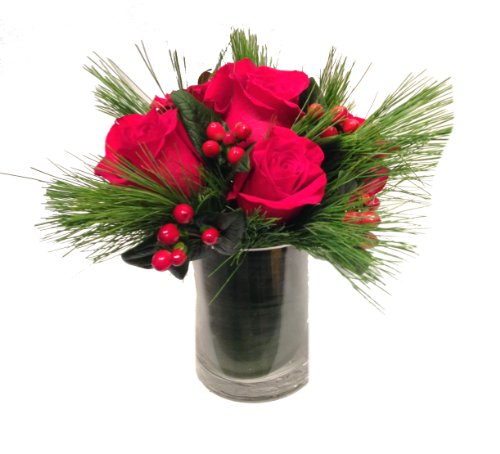 Winter Romance- Red Roses Christmas Flowers