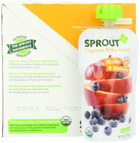 Sprout Intermediate Organic Baby Food Apple and Blueberry 4 0 Ounce Pack of 5
