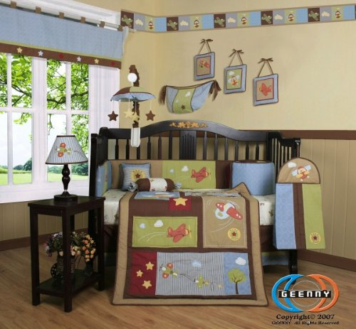 Boutique Airplane Aviator Boy 13PCS CRIB BEDDING SET