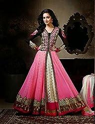 Diya Women's Pink Net Designer Dress Materials [DS_JCN1001_E]