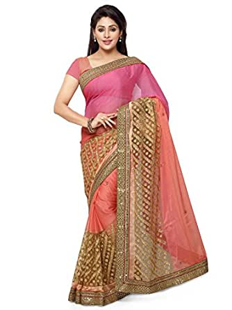 Kanchnar Women's Pink and Peach Faux Chiffon and Net Embroidered Party Wear Saree with Un-stitched blouse piece,Best Selling Sari For Wedding Wear,Girls Clothing with Blouse Fabric