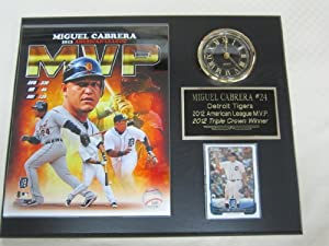 Miguel Cabrera Detroit Tigers MVP Collectors Clock Plaque w 8x10 Photo and Card by J & C Baseball Clubhouse