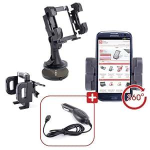 Fixation Support Voiture Rotatif pour tableau de bord, grille d'aération et pare-brise, compatible avec Samsung Galaxy S3 / Samsung Galaxy S III i9300 + Chargeur Voiture Bonus