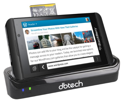 DBTech Cradle Dock Desktop Pod Dual Rapid Charger for the All New BBZ10 BlackBerry 10 BlackBerry Z10 with USB Sync and Special Slot for Your Spare Battery with LED Notification Status of Device and Battery Charge