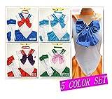 【完璧5カラーフルセット販売】ハロウィン(Halloween) 豪華衣装8点セット 美少女戦士セーラームーンコスプレセット(Lサイズ(160-165cm))
