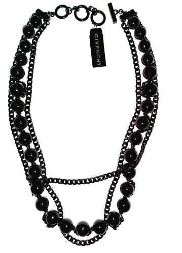 Givenchy Black Glass Beads Multistrand