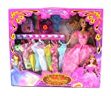 Princess Karissa 14 Piece Toy Doll Playset, Comes w/ 8 Different Dress Outfits, Princess Doll, Hair Dryer, Travel Case, Hair Brush, Wand, Flower