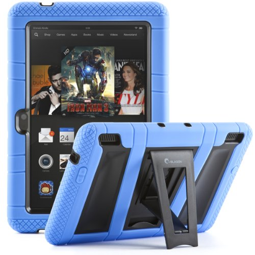 Best Buy! i-Blason Kindle Fire HDX 7 ArmorBox 2 Layer Convertible [Hybrid] Full-Body Protection KickStand Case with Built-in Screen Protector for Kids Friendly (Blue/Black)