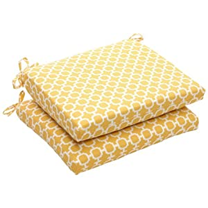 Pillow Perfect Outdoor Yellow White Geometric Seat