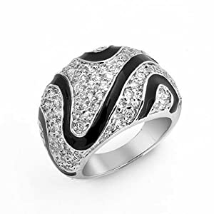 Bling Jewelry Black Enamel Clear CZ Zebra Design Dome Cocktail Ring Rhodium Plated
