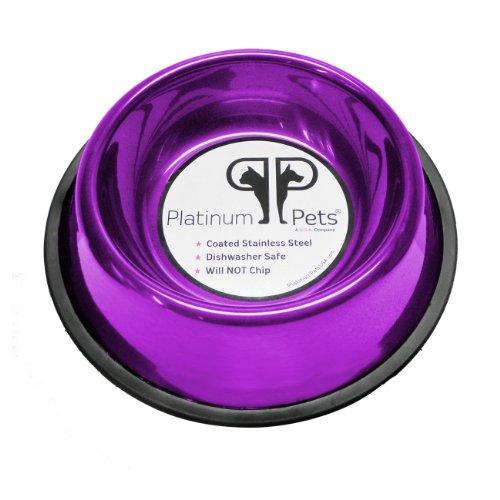 Platinum Pets 1 Cup Non-Embossed Non-Tip Cat/Puppy Bowl, Purple