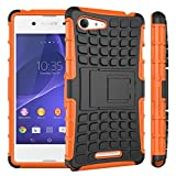 Heartly Flip Kick Stand Spider Hard Dual Rugged Armor Hybrid Bumper Back Case Cover For Sony Xperia E3 and E3 Dual Sim D2203 - Mobile Orange
