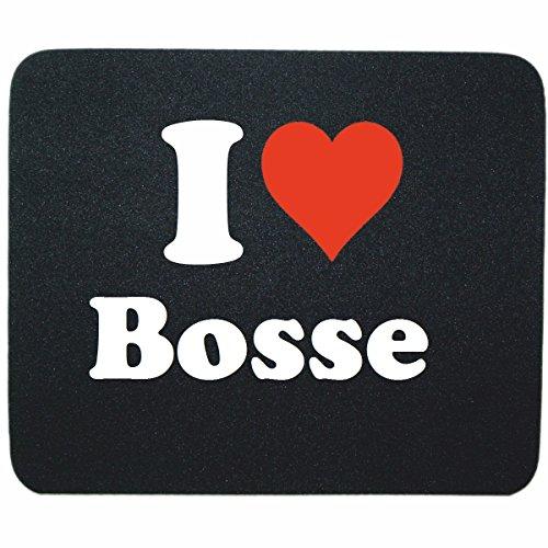 """Regali Esclusivi: Tappetini per il Mouse """"I Love Bosse"""" in Nero, un Grande regalo viene dal Cuore - Ti amo - Mouse Pad - Antisdrucciolevole - Punte di Natale"""
