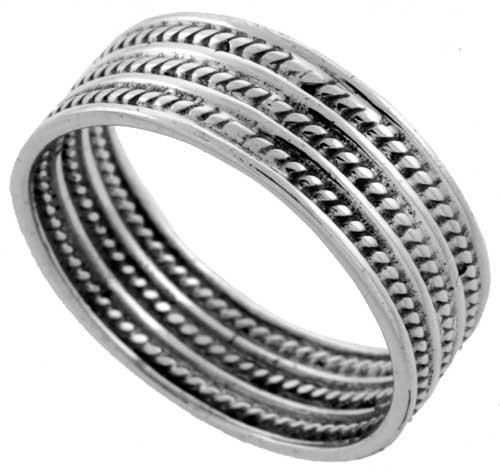 Sterling Silver Bali Style Rope Wedding Band Ring 5/16 inch wide, size 9