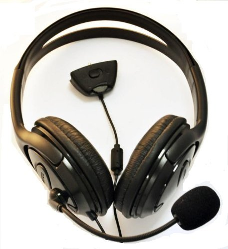 Black xbox 360 headphones headset with microphone live chat, black xbox headphones, XBox 360 Large Style Headset (Earphone & Microphone) For xBox 360 Online Gaming with Foam Ear Pieces for Comfort and Adjustable Mic Arm & Volume Control by pjp electronics