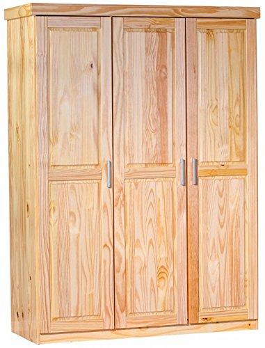 Armoire Pelle 3 Portes Naturel, Dim :140 x 55 x 190 cm -PEGANE-
