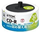 TDK データ用CD-R 省資源 詰め替え用 30枚入り リフィルパック 700MB 48X インクジェットプリンタ対応(ホワイト・ワイド) CD-R80PWDX30RF